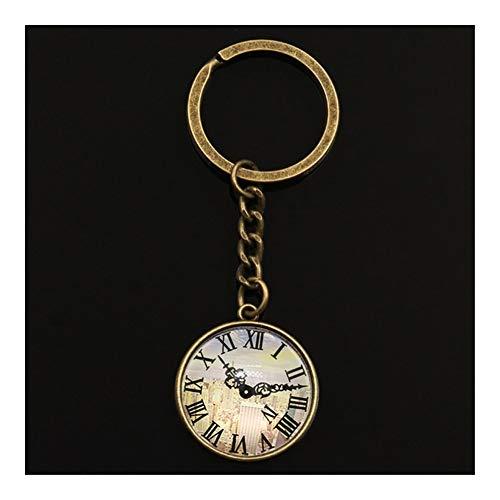 TangMengYun Schlüsselanhänger Schlüsselanhänger Schmuck mit Silber-Farben-Gebäude Uhr-Taschen-Uhren Glascabochon Autozubehör Schlüsselanhänger Ring for Unisex Schlüsselring (Color : Bronze type1)