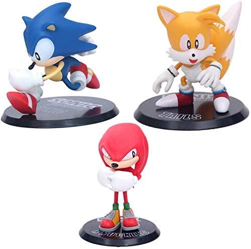 rsonic Mouse Sonic Sonic The Hedgehog Supersonic Boy PVC Anime Figurine Decorazione del Desktop Figura Giocattolo per Bambini Regalo 3 Pz/Set Confezione