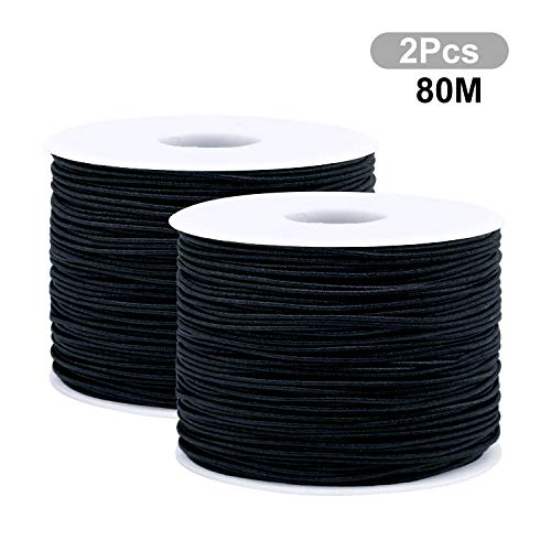 Maxee Weiß 2PCS 80M, Pro Rolle / 40M 1.5MM Breite Geflochtene elastische Schnur/elastisches Band/DIY Seil/Bungee Naturliches Baumwolle Garn,Baumwollgarn Basteln,baumwollkordel weiß