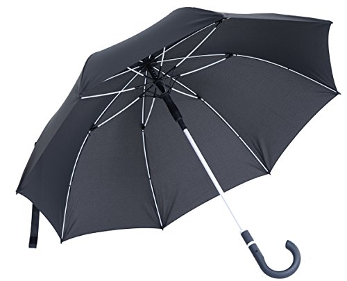 vanVerden - Automatik Regenschirm - Sturmfest (TÜV geprüft), Windfest, Leicht, Stabil - Fiberglas Rahmen 112cm Durchmesser, 90cm Länge, Farbe:Anthracite/White