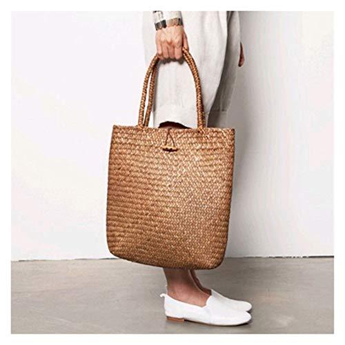 Cvthfyky Straw Bag for Women Tote Summer Bohemia Womens Handbags Solid Shoulder Beach Bag (Color : Khaki, Size : 32cm)