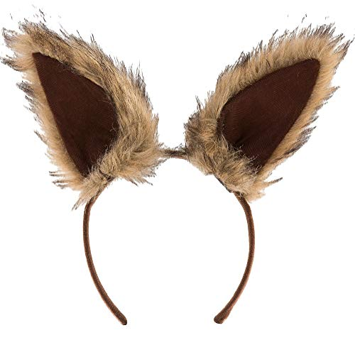 elope, Inc Oversized Brown Squirrel Ears Deluxe for Adults, One Size, Feature Light Brown Faux Fur Ears on a Headband