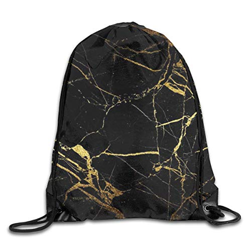 Lsjuee Black Gold Marble Drawstring Backpack Bags Adult Sport Gym School Travel String Storage Sackpack