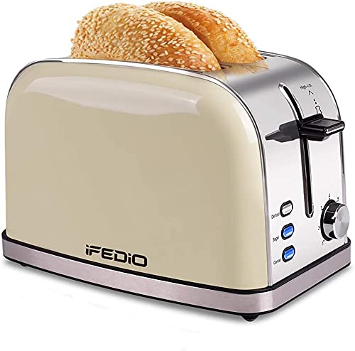 Toaster 2 Slice Extra Wide Slots Toaster Stainless Steel Retro Bread Toasters with Bagel, Defrost, Cancel Function 7 Bread Shade Settings and Removable Crumb Tray (White)