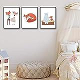 DZYDDPOY Cuadros Abstractos Modernos Imágenes para La Oficina O La Cocina, Murales Adhesivos Y Pegatinas De Pared como Póster para Dormitoriodibujos Animados Red Fox-30 * 40Cm * 3_with_Frame