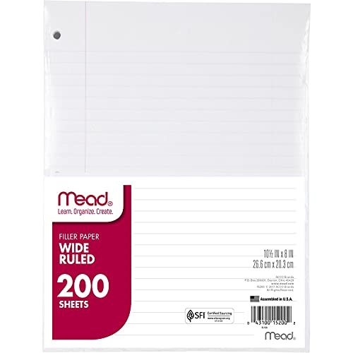 Mead Loose Leaf Paper, Wide Ruled, 200 Sheets, 10-1/2' x 8', Lined Filler Paper, 3 Hole Punched for 3 Ring Binder, Writing & Office Paper, Perfect for College, K-12 or Homeschool, 3 Pack (73183)