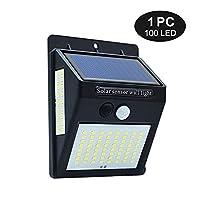 ソーラーライト 144分の100のLED屋外ソーラー壁ランプPIRモーションセンサー防水ライトガーデンパス緊急グローブライト3つの両面ルミナス AiHua Huang (Color : ブラック, Size : 1pc)
