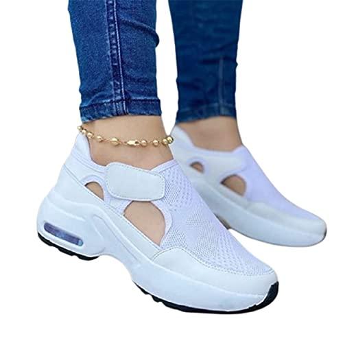 Zapatillas de deporte de moda para mujer con suela de cojín de aire tejido volador con gancho y bucle ahuecado para arriba de