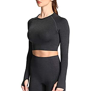 Aoxjox Women's Vital Seamless Workout Long Sleeve Crop Top Gym Sport Shirts