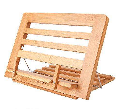 Exerz Bambus Leseständer/Lese Kochbuchständer Koch Rezepthalter Buchstütze - Premium Qualität/Einstellbar/Ideal für Bücher, iPads und Tablets -34 x 24 x 2 cm (Bambus)