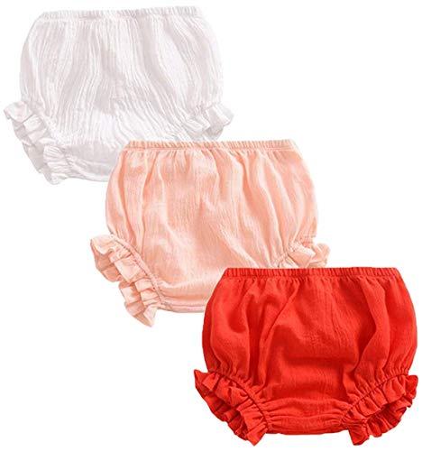 FAIRYRAIN 3 Pack of Baby Kinder Mädchen Jungen Baumwolle Unterwäsche Unterhosen Rüsche Hose Bloomer Shorts Baby Höschen Windelhöschen Kleinkinder Pumphose 1-2 Jahre