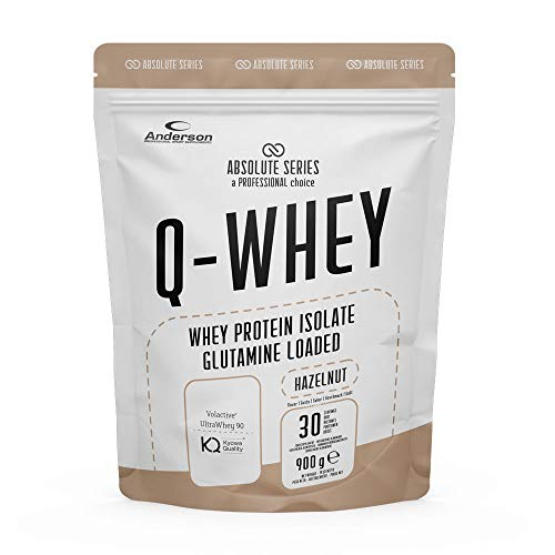 Proteine Whey isolate 90% con Glutammina e Vitamina B- Q-WHEY, 900 g per 30 dosi di Absolute Series (Hazelnut)