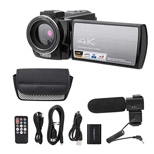 Videocámara HDR-AE8 HD, 4K 3.0 pulgadas Pantalla táctil Visión nocturna Cámara de video digital WIFI 16X para micro filmación de películas / Turismo al aire libre(Estándar + micrófono + batería)