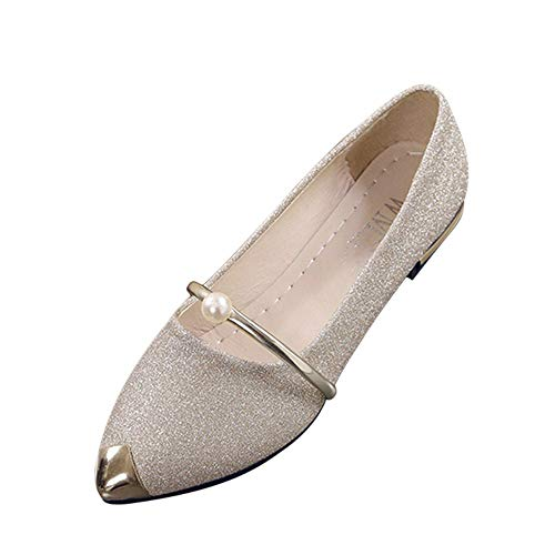 Xinantime Women's Pointed Toe Comfort Flats Slip On Ballet Dressy Shoes for Women Driving Walking Shoes 8 Gold