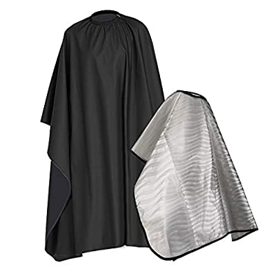 GeeRic Barber Haircut Cape, Hair Coloring Cape 2 Pcs Reusable PVC Shampoo Cape Waterproof Styling Hairdresser Professional Salon Cloak for Hair Cutting Coloring Dyeing Perm, Black+Transparent