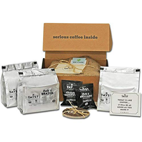 Tayst Dark Roast Coffee Pods   30 ct. Bold Sample Box   100% Compostable Keurig K-Cup compatible   Gourmet Coffee in Earth Friendly packaging
