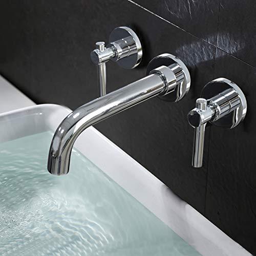 De wandkranen voor volledige wastafel in koper voor dubbele badkamer De driegatenkraan voor badkamermeubels, Y6019B Y6019b