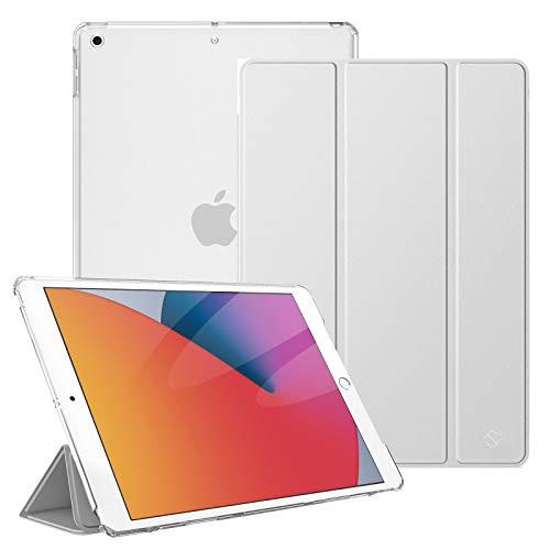 Fintie Hülle für iPad 10.2 Zoll (8. & 7 Generation, Modell 2020/2019) - Superdünn Schutzhülle mit durchsichtiger Rückseite Abdeckung Cover mit Auto Schlaf/Wach Funktion, Silber