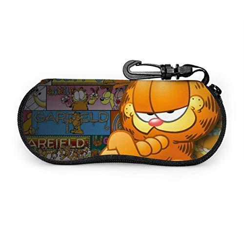 Fundas de Gafas Anime Garfield Estuche Para Gafas Hombres Mujeres Estuche Con Mosquetón Viaje Gafas De Sol Estuche Blanda Funda De Neopreno Con Cremallera