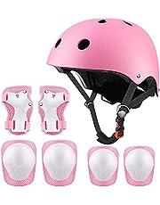 Fietshelm voor kinderen, beschermingsset voor kinderen, klassieke helm met kniebeschermers en elleboogbeschermers voor multisport, scooter, skateboard, rijden, scooter, 3-13 jaar (roze)