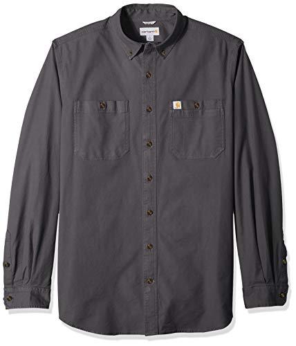Carhartt Men's Rugged Flex Rigby Long Sleeve Work Shirt (Regular and Big & Tall Sizes), 039-Gravel, Medium