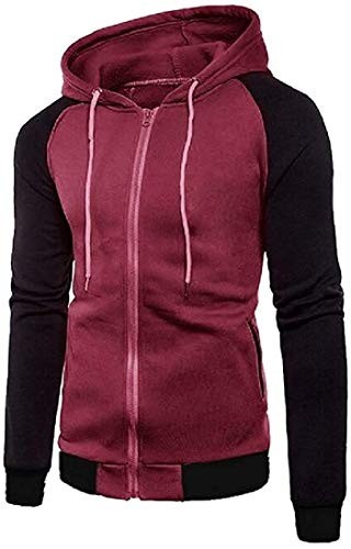 Men's Zipper Long Raglan Sleeve Hoodie Gym Stylish Sweatshirt Jacket,Wine Red,Large