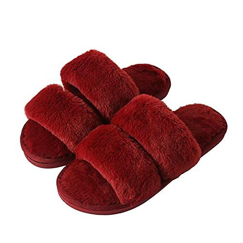 NUGKPRT chanclas,Zapatillas de mujer Invierno Cálido Color gris Punta abierta Antideslizante Dormitorio Casa Zapatillas 40-41 Winered
