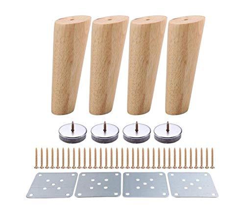 MNZDDDP 4 Unids 150 Mm Altura Muebles De Madera Patas Oblicuo Cónico Sofá Confiable Tabla Pies Cojín Cómoda Sillón Foot Oak Wood More Regalo (Color : B Sets)
