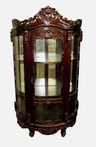 D-Art Rococo China Glass Cabinet - in Mahogany Wood