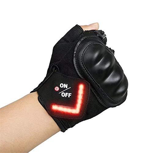 EXCEREY Kurze Finger Handschuhe Induktion Blinker Handschuhe LED Warnblinker Handschuhe LED Warnblinker Handschuhe Fahrradhandschuhe mit Nachthandschuhe Wasserdicht LED Fahrradlicht