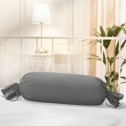 Erwin Müller Nackenrollenbezug Single-Jersey Murnau grau Größe 40x15 cm Ø- bügelfrei, strapazierstark, elastisch, mit Bindeband (weitere Farben)