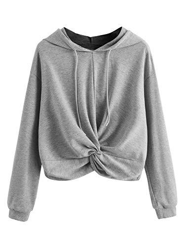 MakeMeChic Women Solid Twist Front Long Sleeve Drawstring Crop Top Sweatshirts Hoodies Grey S