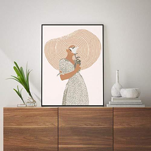 Terilizi Boho wanddecoratie boven bed kunst terracotta minimalistische tekening kunst schilderij abstracte vrouw portret poster canvasdruk wooncultuur -40X50cm geen lijst