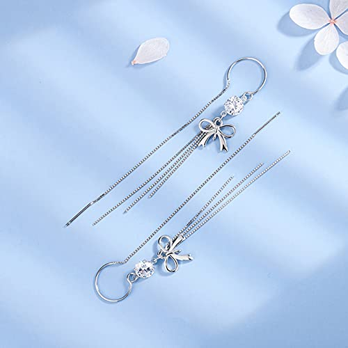 AFEO S925 Sterling Silver Early Female Fashion Long Bow Pendientes Simple Temperamento Anti-Irradiating Supori Pendientes, Oro, Plata (Color : Silver)