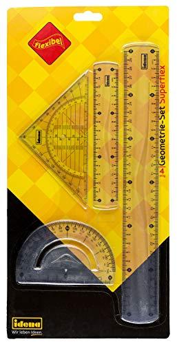 Idena 10066 - Geometrie-Set Superflex, 4-teilig, transparent, 1 Set