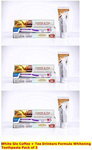 White Glo Premium Coffee & Tea Drinkers Formula Intense Extra Whitening Toothpaste & Toothbrush-100 ml (Pack of 3) with Sanitral 50 Pcs Dental Floss Stick Included as a Gift