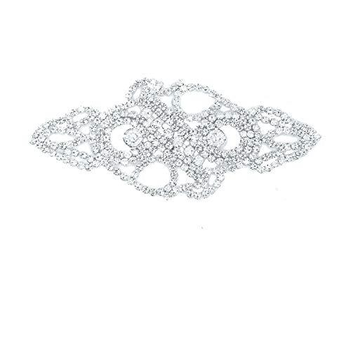 Trimming Shop Strassstein Motiv Diamanten Kristalle Zum Aufnähen Applikation Flicken - Perfekt für Hochzeit Braut Kleid,Freizeit oder Formelle Bekleidung Mode-Accessoires 120mm X 50 mm ( Ca. ) Patch