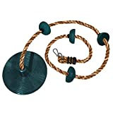 Jungle Gym Kingdom Rope Swing - Tree Climbing Ropes & Disc Swings for Kids w/ Green Seat for Swinging – Outdoor Playground Set w/ Carabiner & 4ft Strap - Treehouse Accessories