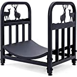 Wrought Iron Log Rack, Firewood Storage Holder, Heavy Duty Fireside Log Bin for Fireplace Stove Accessories