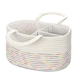 Genenic Baby Diaper Caddy Organizer – Newborn Portable Stylish Cotton Rope Nursery Storage Basket with Removable Insert for Changing Table & Car, Best Baby Shower Gifts (White&Rainbow)