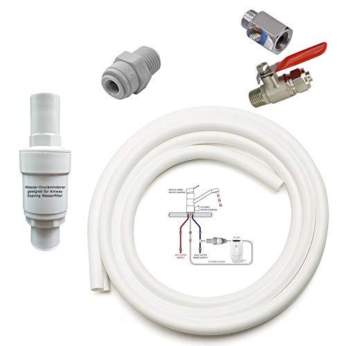 Anschluss-Set geeignet für Amway eSpring Wasserfilter zum beliebigen DREI Wege Wasserhahn inkl. Absperrhahn Auch geeignet für eine Zusatz EIN Weg Wasserhahn