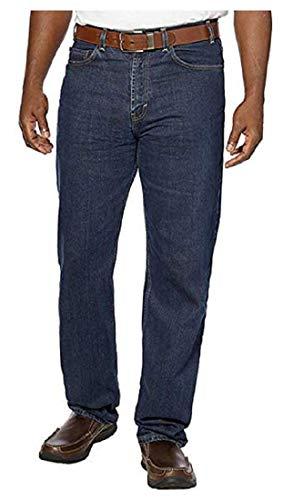Kirkland Signature Men's 5 Pocket Jeans, New Relaxed Waist, Dark Blue, 40x32