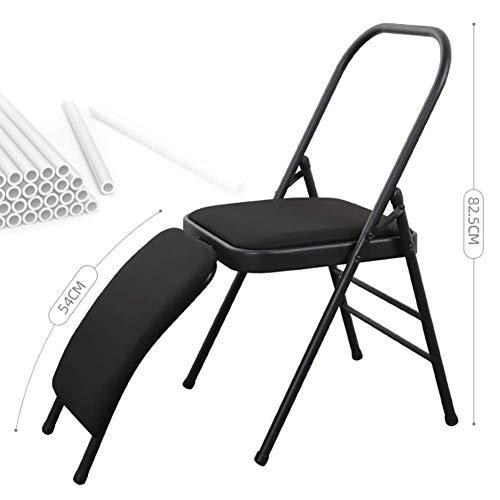 Sport Fitness High Density Designstuhl Moderner klassischer Stahl, Gym Yoga Silikon Sportstuhl, Klappstuhl mit Stahl- oder PU-Blech,Schwarz