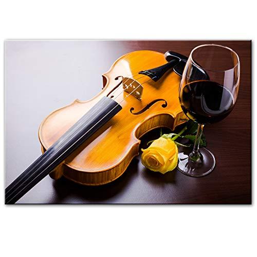 Moderne kunst aan de muur Decoratieve canvasafdrukken Romantische viool Roos en rode wijn Canvas Schilderijen Realistische fotokamer 60x90cm (23.6