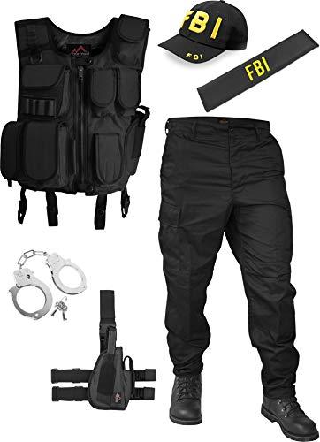 normani Secret Service FBI Agenten Kostüm für Damen und Herren - Weste, FBI Patch, FBI Cap, Police Abzeichen, Holster, Handschellen und BDU-Hose Größe 5XL