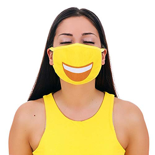 MojiGear Grin Face Premium Cotton Pollution Filter Face Mouth Mask Emoji Respirator Unisex Anti-Dust Shield Mask Muffle for Teens Men Women Yellow - - Amazon.com