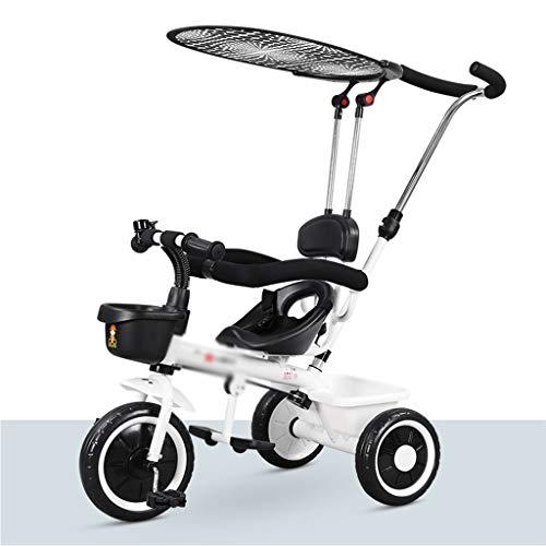 Triciclos Carrito De Niños Infantil con Parasol Bicicleta For Niños De 1 A 3 Años For Los Niños. (Color : Blanco, Size : 70x50x57cm)