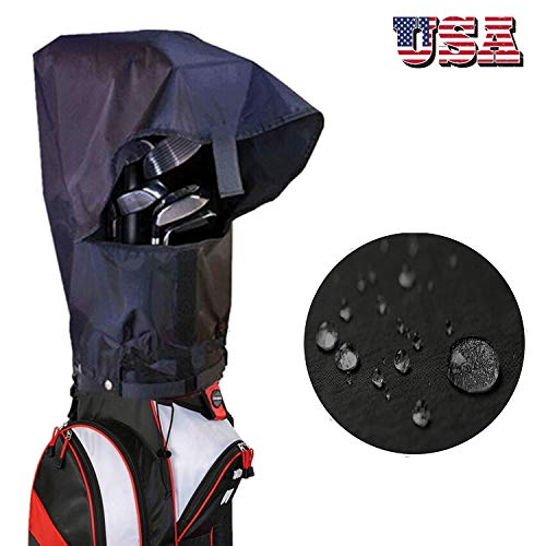 Amy Sport Golf Bag Rain Cover Waterproof Hood Protection Black Pack, Durable Lightweight Club Bags Raincoat for Men Women Golfer (1 Pcs Black Golf Bag Rain Cover)