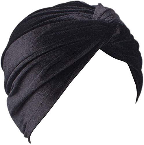 MIMIKRY Sombrero turbante de terciopelo para mujer, diseo de los aos 20, color negro