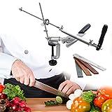 TTLIFE Afilador de cuchillos de ángulo fijo Afilador de ángulo fijo (con 4 piedras de afilar), Diseño giratorio de 360 ° de acero inoxidable, Amoladora de cuchillos de chef de cocina profesional